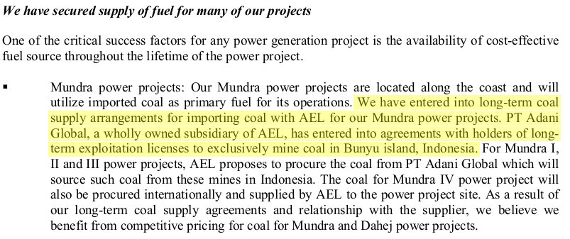 An excerpt from the Draft Red Herring Prospectus filed by Adani Power in 2008.