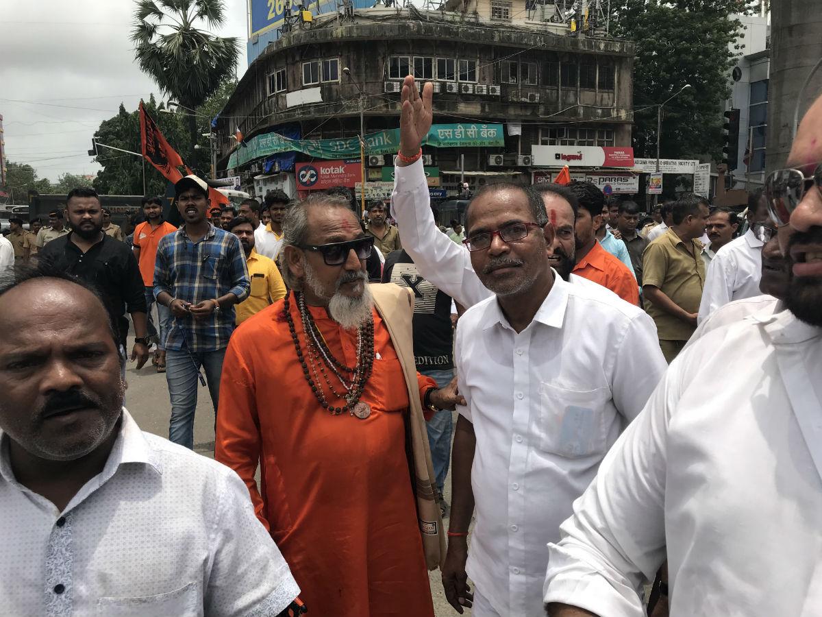 Protestors at Saki Naka included a Bal Thackeray lookalike. Image: Shone Satheesh
