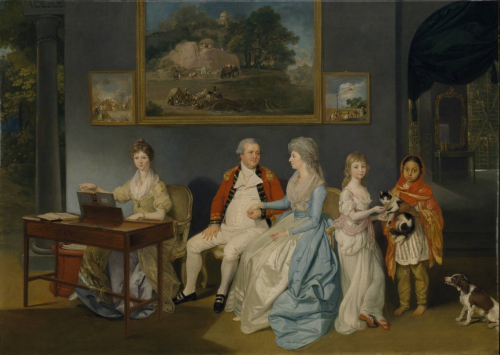 Colonel William Blair and his family in India with his daughter Jane at the pianoforte. Johan Zoffany, 1786 (Tate Britain, T12610)
