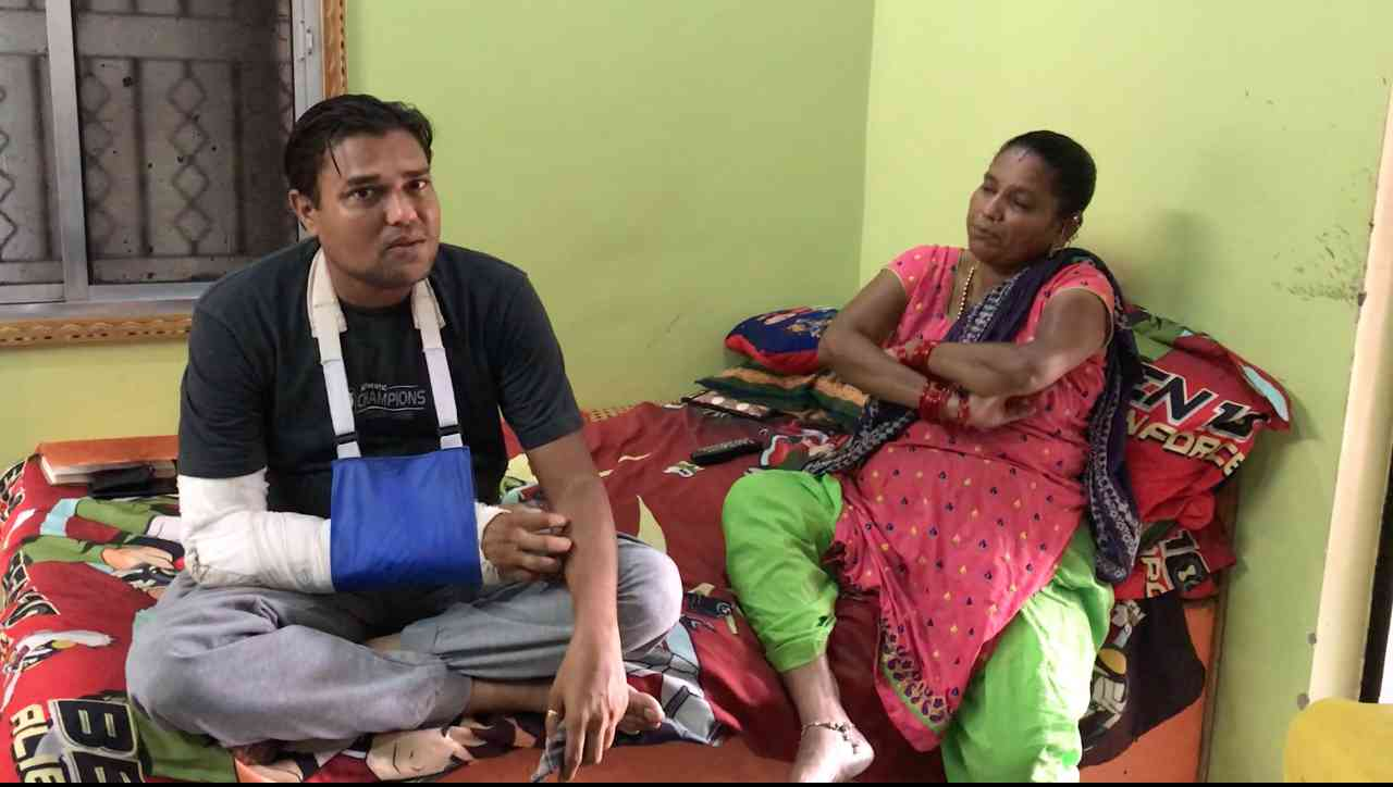 Atul Gagdekar, a cloth merchant, suffered a compound fracture in his arm because of a police beating during the police raid in Chharanagar, Ahmedabad, in July.