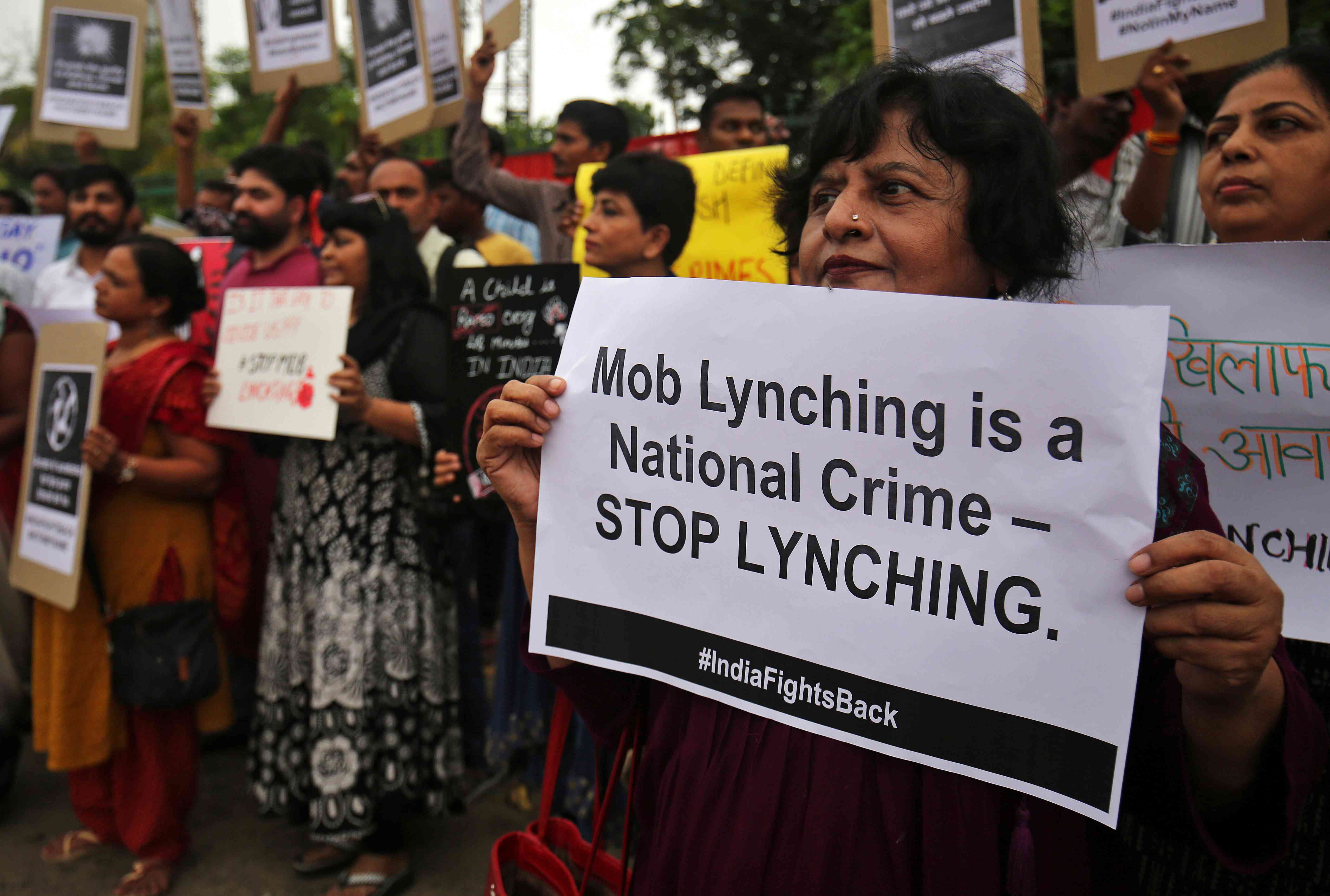 Protests in Ahmedabad against mob lynching in 2018. Credit:  Amit Dave/Reuters
