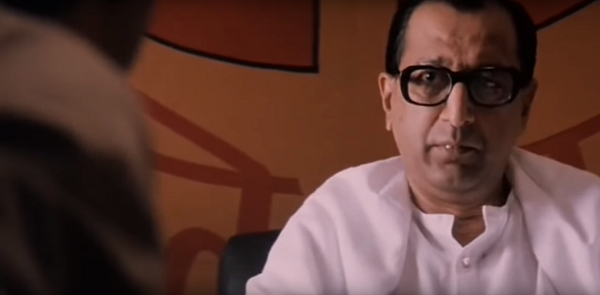 Tinnu Anand playing a character modelled on Shiv Sena chief Bal Thackeray in Mani Ratnam's Bombay (1995). Courtesy S Sriram/Jhamu Sugandh.