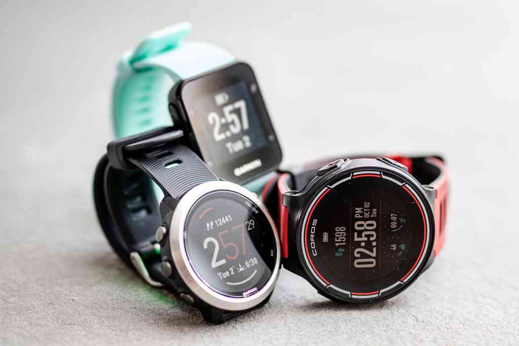 Our picks, clockwise from lower left: Garmin Forerunner 645, Garmin Forerunner 35, and Coros Pace. Photo credit: Sarah Kobos.