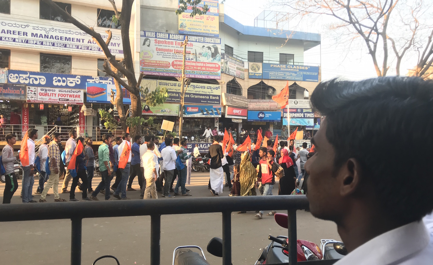 A procession of workers of the Vishva Hindu Parishad marched in Dharwad city on February 3. The Hubli-Dharwad twin township has seen communal mobilisations in the past. But there are fractures in the Hindutva family. A senior VHP leader criticised the BJP's local MLA.