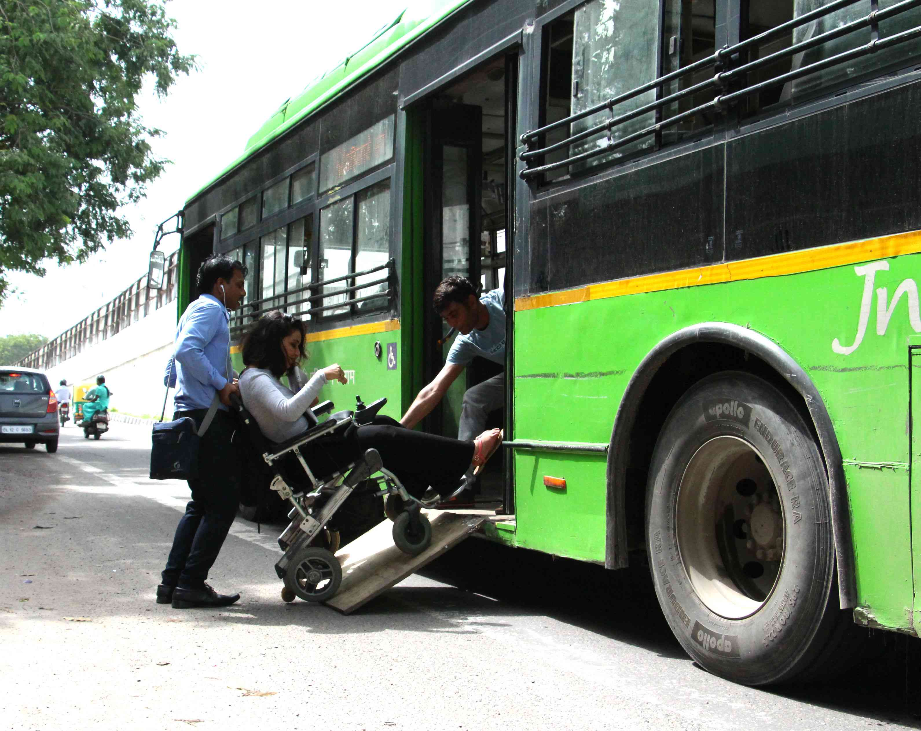 With buses stopping far away from the kerb, entering the bus becomes a difficult task for wheelchair users like Preeti Singh (pictured here) and requires assistance from fellow commuters or the bus conductor.