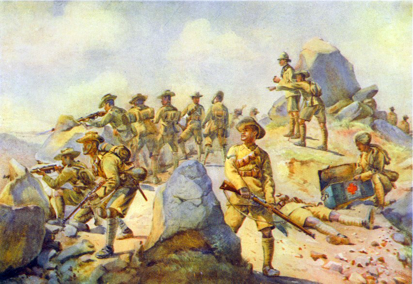 4th Gurkha Rifles. Watercolour by AC Lovett, 1911. Image credit: Wikimedia Commons [Public Domain]