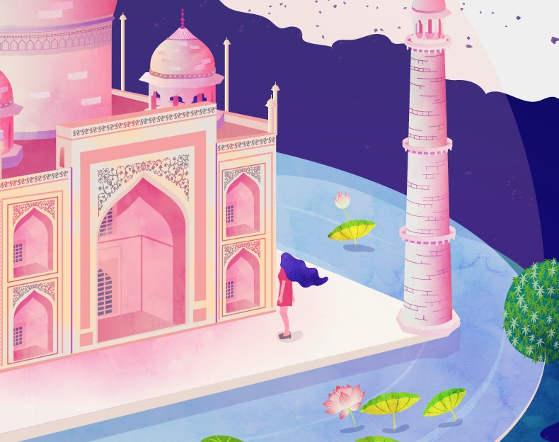 "2007 by Neethi Goldhawk. ""Taj Mahal, one of the masterpieces of world's heritage, was declared one of the winners of the New7Wonders of the World initiative. Situated in the Indian city of Agra, it is the greatest architectural achievement in the whole range of Indo-Islamic architecture. It was a moment of national pride when Taj Mahal was elected by more than 100 million votes to represent global heritage throughout history."" – Neethi Goldhawk"