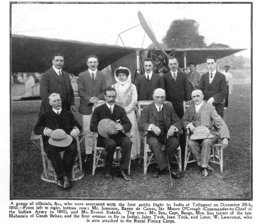 The group photo from Flight magazine, with Mrs Sen in the centre.