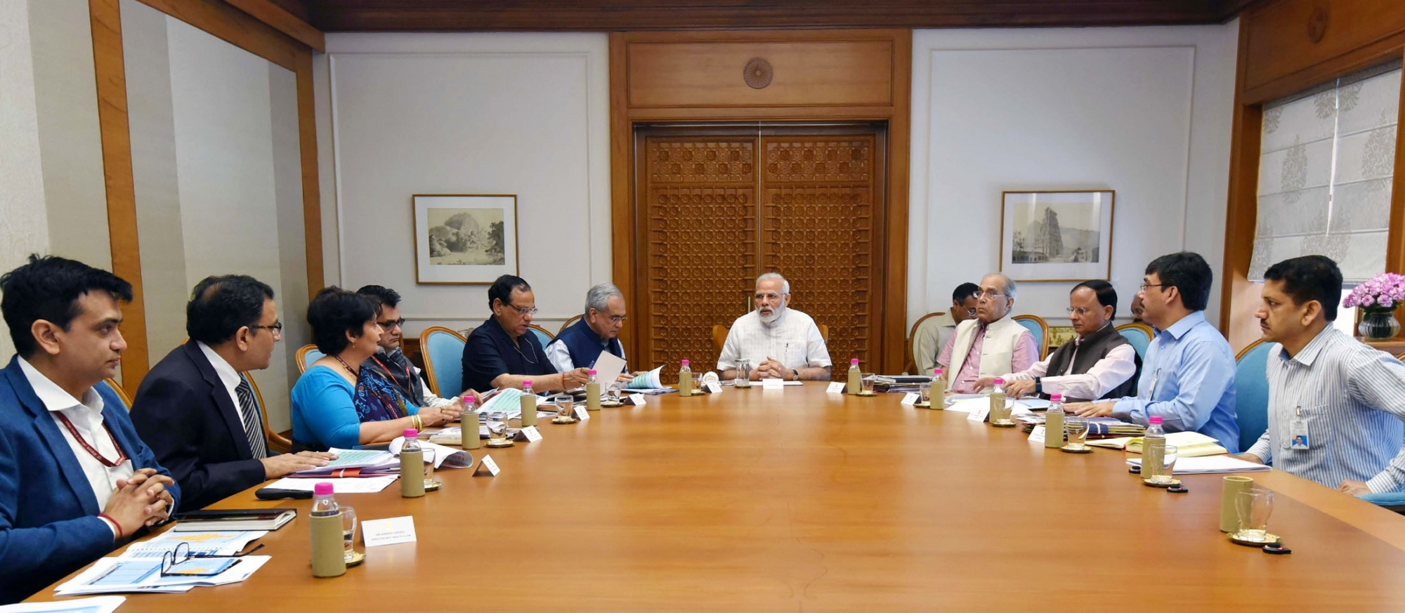 Prime Minister Narendra Modi reviews the preparations for launch of Health Assurance programme under Ayushman Bharat in New Delhi on May 7, 2018. (Photo: IANS/PIB)