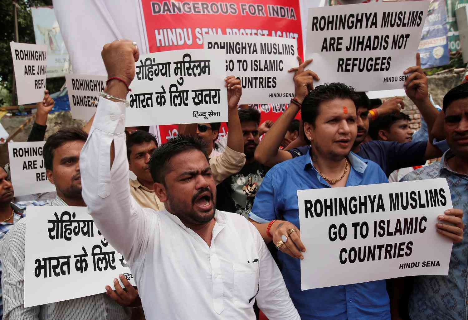 Members of the Hindu Sena shout slogans demanding the deportation of Rohingya refugees from India, in New Delhi, on September 11, 2017. (Photo credit: Reuters/Adnan Abidi).