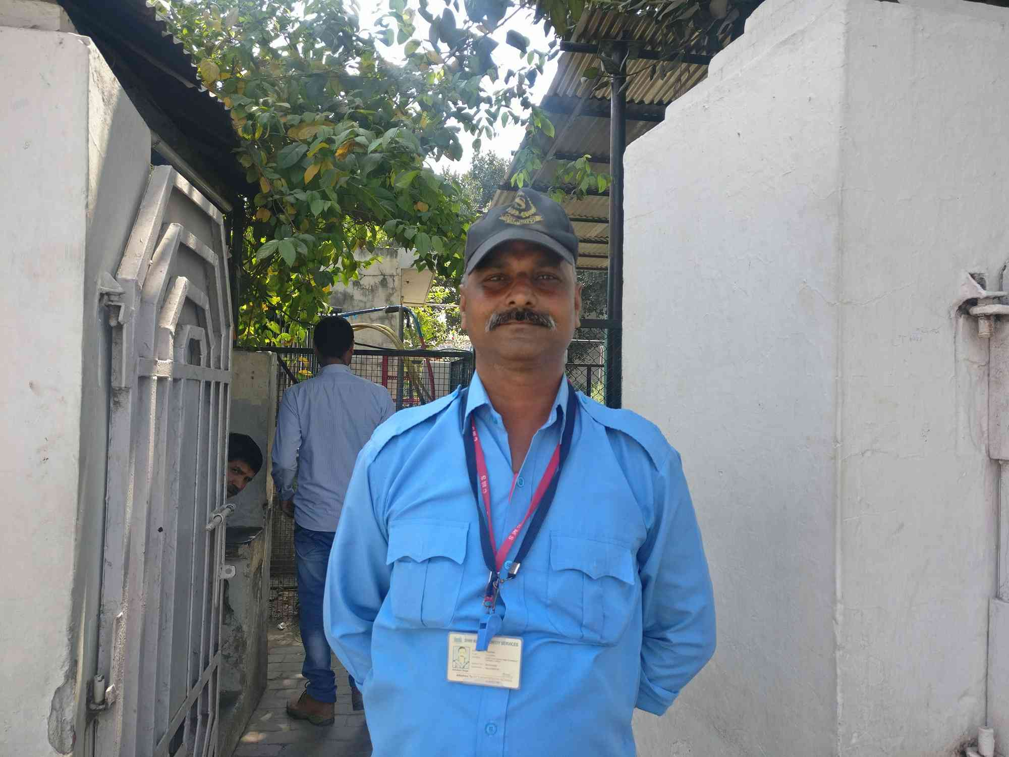 Akhilesh Singh works as a security guard at a Lucknow school. (Photo credit: Priyali Prakash).