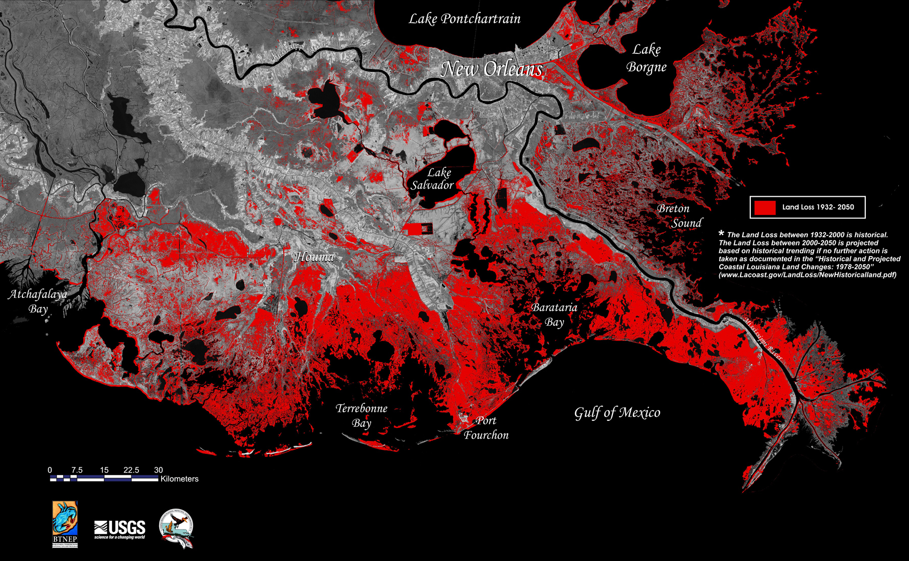 Historical and projected land loss in coastal Louisiana, 1932-2050. Photo Credit: US Geological Survey