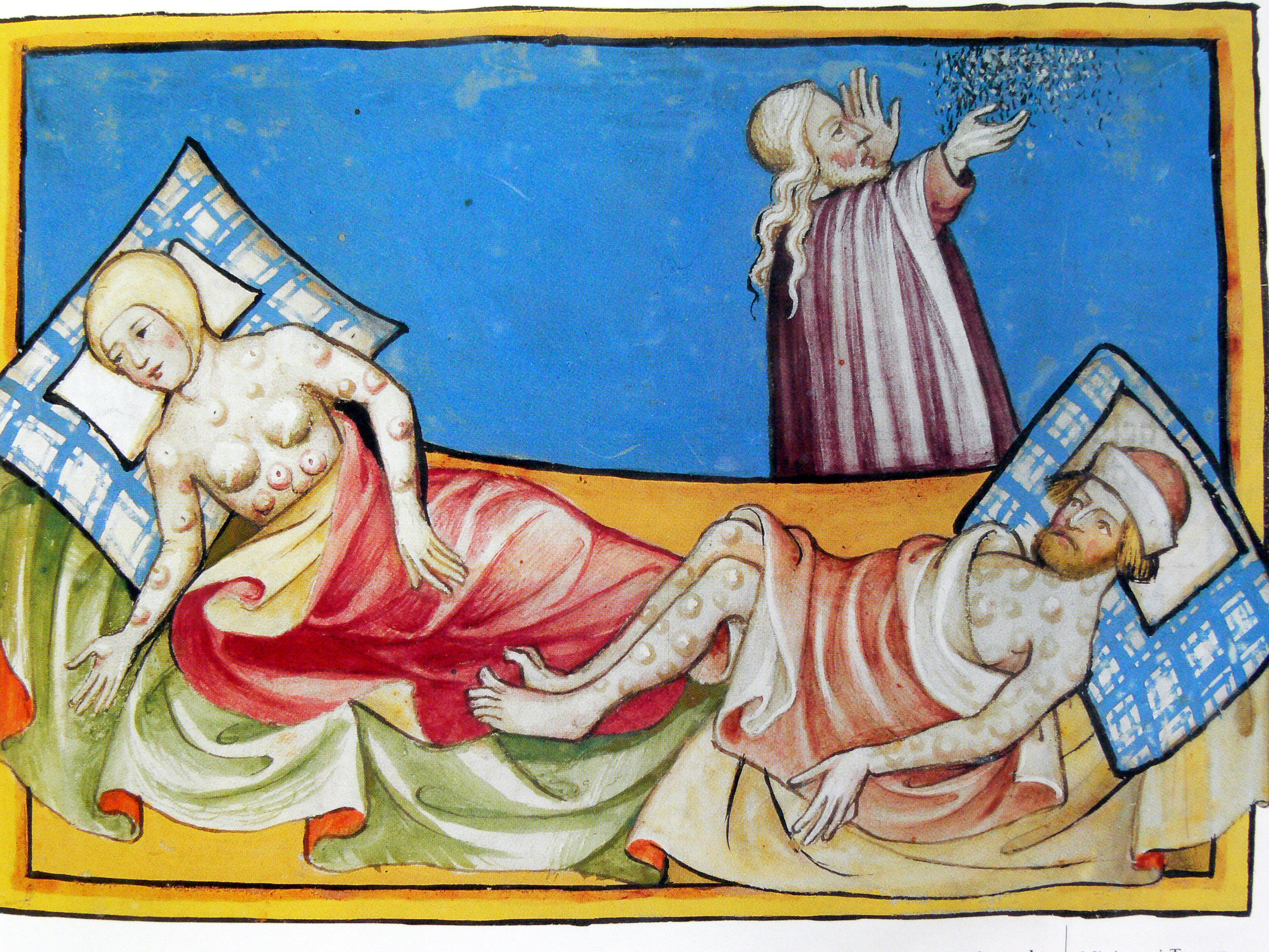 Miniature out of the Toggenburg Bible (Switzerland) of 1411, which has been widely interpreted as representing the outbreak of bubonic plague in Europe, but might actually show people suffering from smallpox as the bubonic plague normally causes blisters only in the groin and armpits. (Image: Wikimedia Commons)