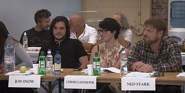 Kit Harington, Lena Headey, and Sean Bean at the script reading of the first season of Game of Thrones. Courtesy HBO.