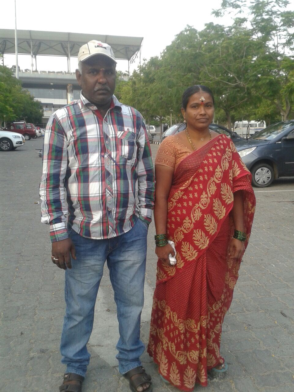 P Satyanarayana and his wife. He last visited his family two years ago.