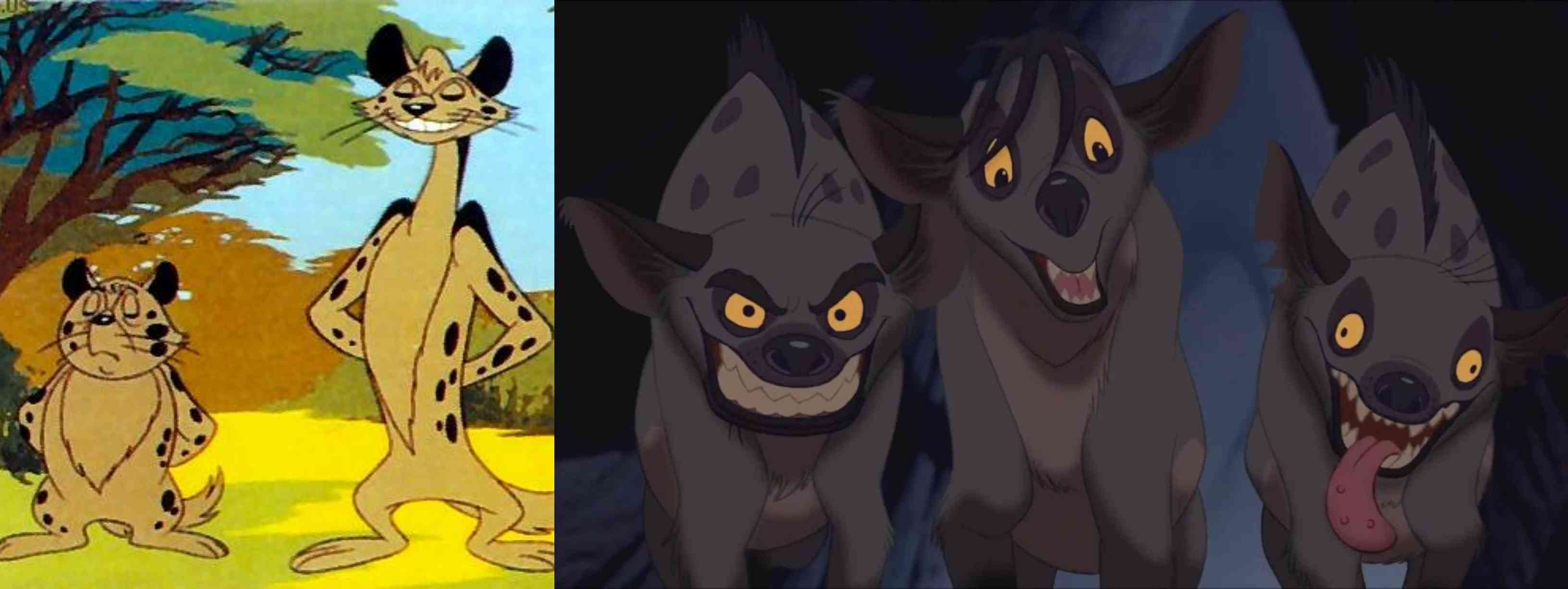 The hyenas of Kimba, The White Lion (left) and The Lion King. Courtesy Tezuka Productions/Disney.