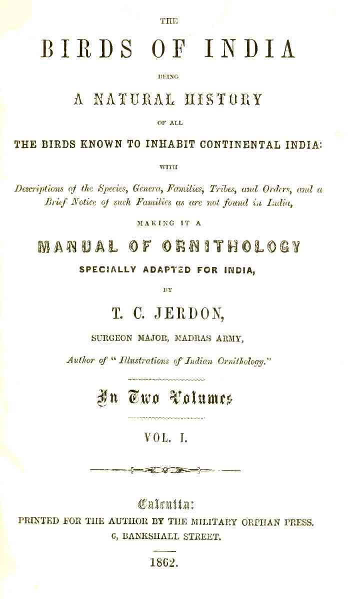 The title page of TC Jerdon's treatise, 'The Birds of India'.