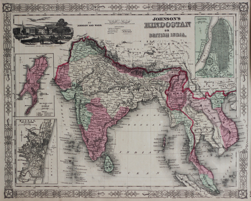 AJ Johnson's 1865 map of British India. Image courtesy: Anubhav Nath.
