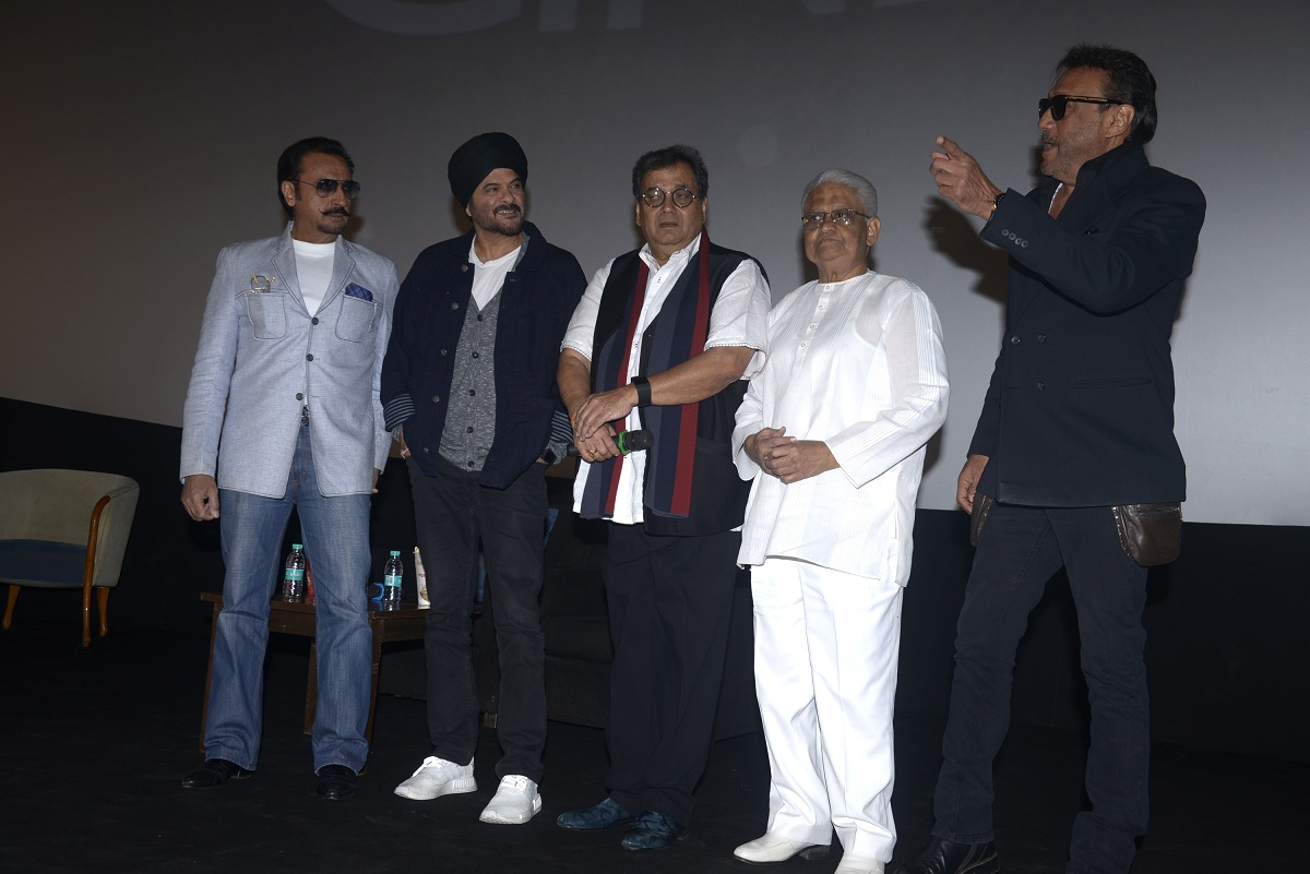 Gulshan Grover, Anil Kapoor, Subhash Ghai, Pyarelal Sharma and Jackie Shroff as the reopening. Picture by Scroll staff.