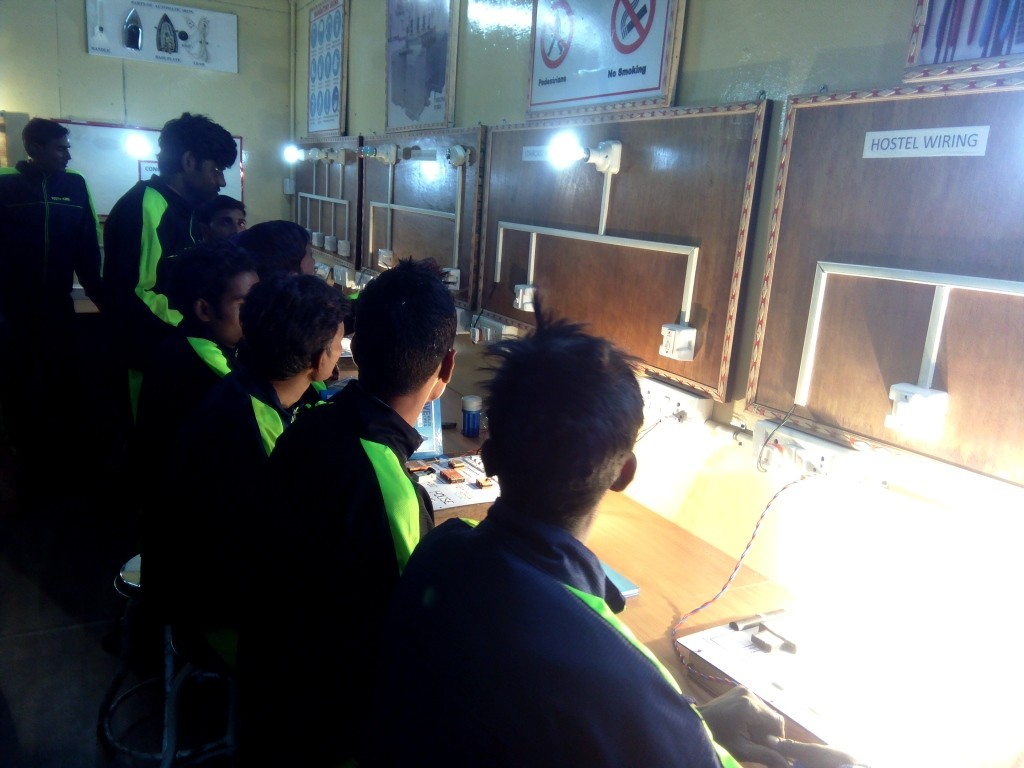 Classes on the basics of electrical repair work are held at the centre in the Tilak Nagar shelter. Photo: Abhishek Dey