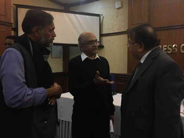 Yogendra Yadav, Prashant Bhushan and Justice AP Shah. Photo credit: Sonal Hayat