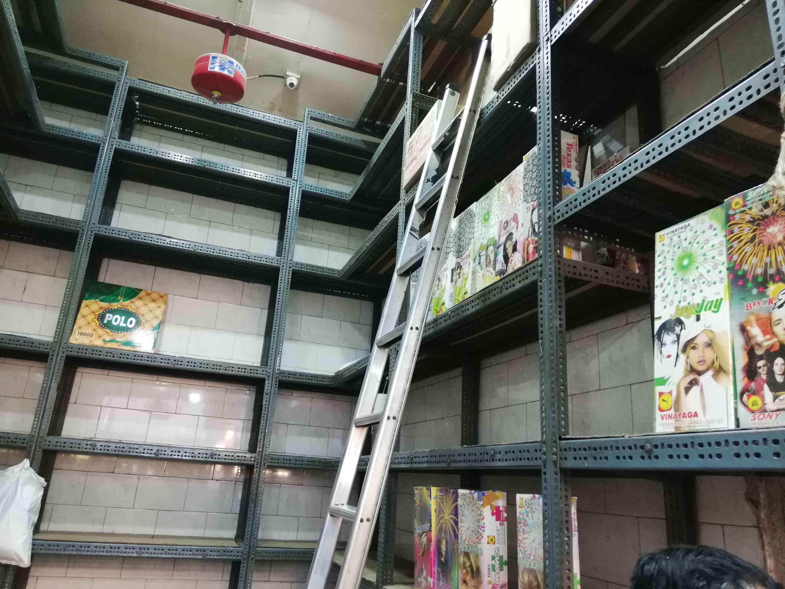Empty shelves at Minesh Mehta's J Devidas and Co firecracker company in South Mumbai. (Photo credit: Mridula Chari).