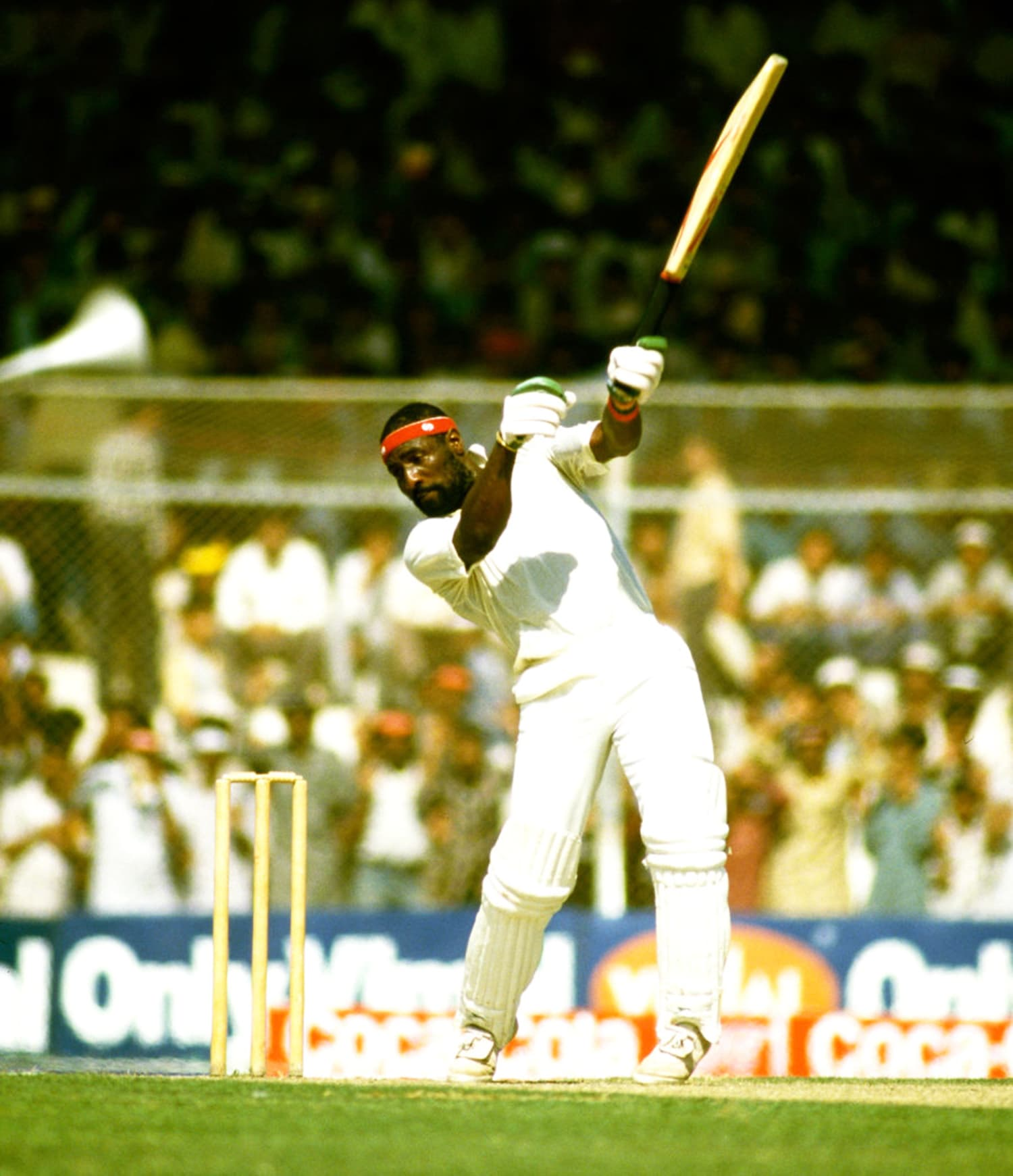 Master West Indian batsman, Viv Richards, hitting out against Pakistan at Karachi's National Stadium during the 1987 Cricket World Cup.