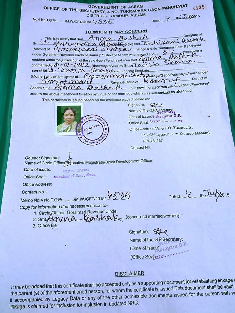 Question of citizenship in assam women wait for supreme court anna sahas panchayat certificate that attests her connection to her paternal family in assam photo thecheapjerseys Image collections