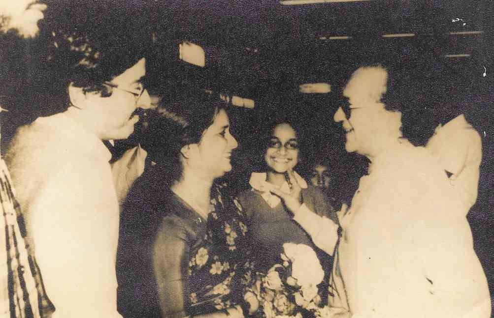 The writer and her parents with Ravi Shankar at Calcutta airport in 1983.