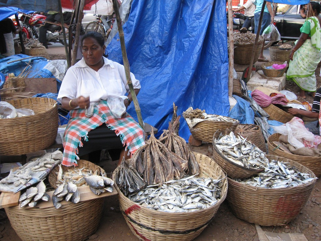 A vendor at Margao Fish Market. Photo credit: Flickr/ Wikimedia Commons CC-BY-SA-2.0