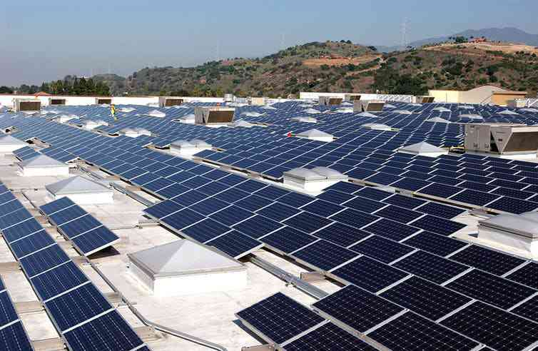 Walmart aims to eventually get 100% of its power from renewable sources, like these solar panels on a Sam's Club in Glendora, Calif. Photo credit: Walmart