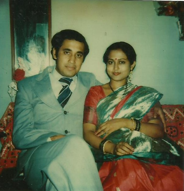 A single Polaroid photo was the only colour indulgence in the Bhides' wedding album.