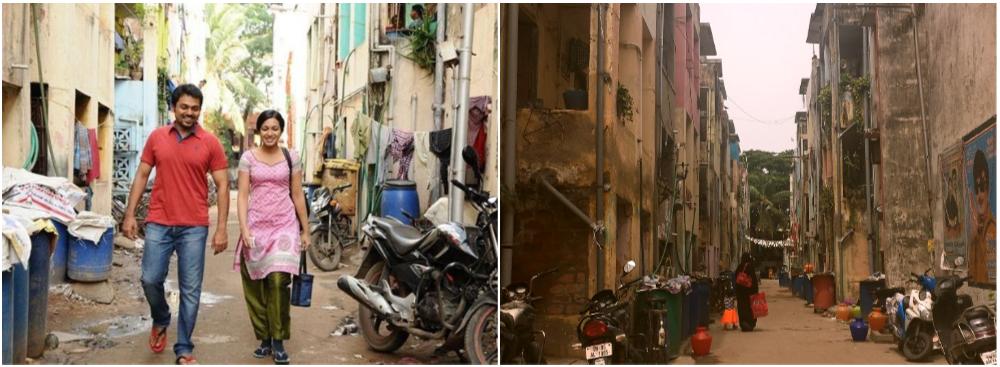 Karthi and Catherine Tressa in Madras (left), shot at Gowdhamapuram tenements. Photo by Sruthi Ganapathy Raman.