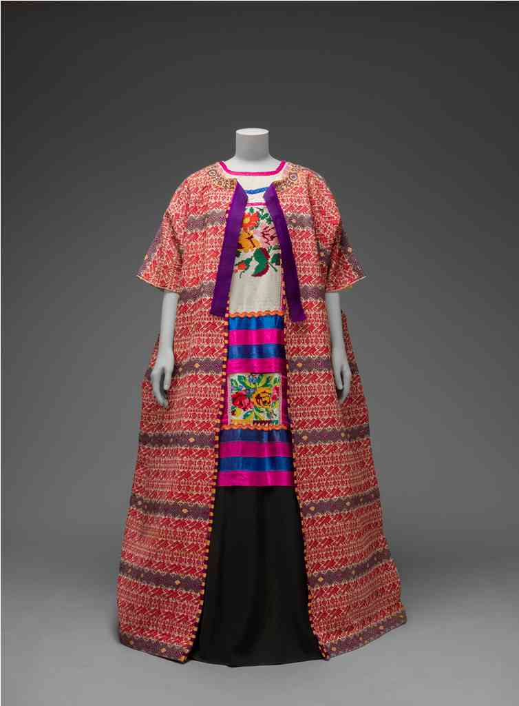 Guatemalan cotton coat worn with Mazatec huipil and plain floor-length skirt. Museo Frida Kahlo © Diego Rivera and Frida Kahlo Archives, Banco de México, Fiduciary of the Trust of the Diego Riviera and Frida Kahl