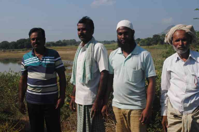 Adil Pasha and other farmers at Jagannathpur village. Photo Credit: Meena Menon