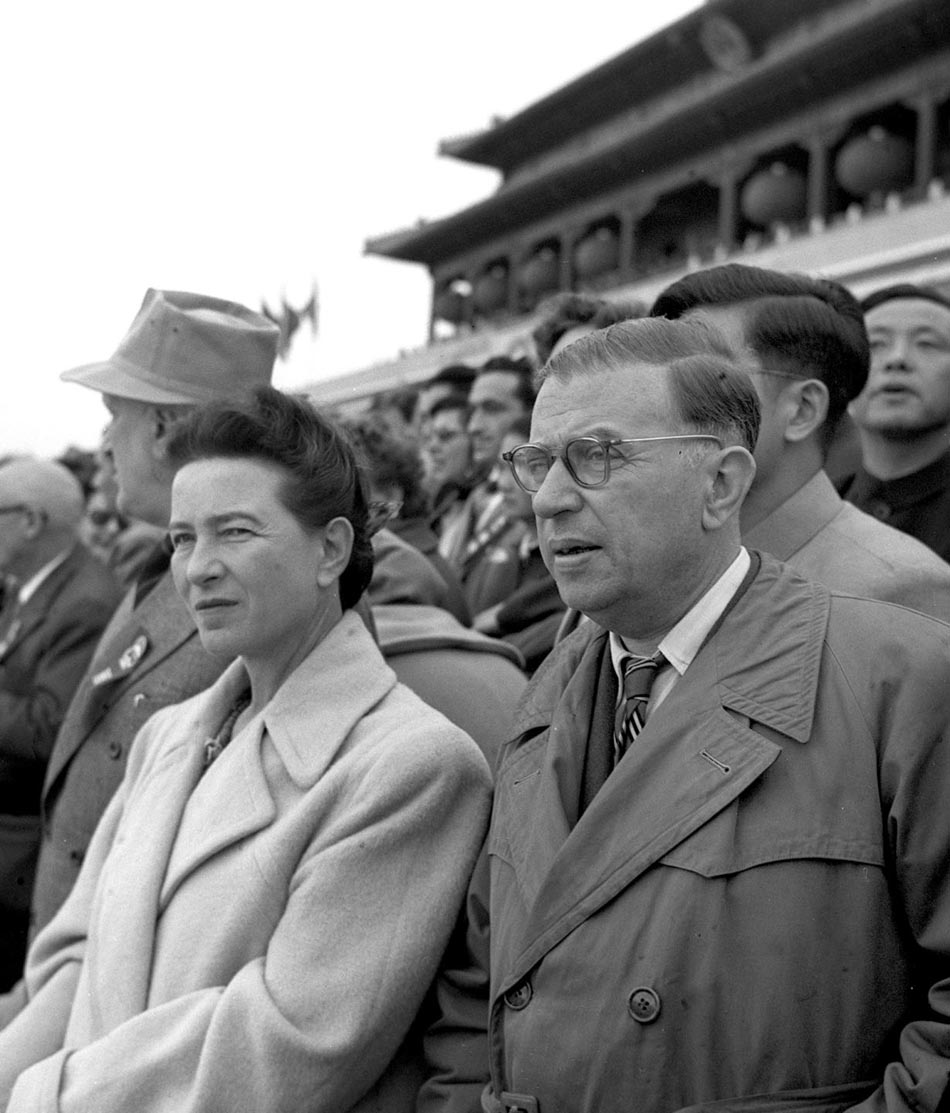 Simone de Beauvoir (left) with Jean Paul Sartre. Image credit: Wikimedia Commons