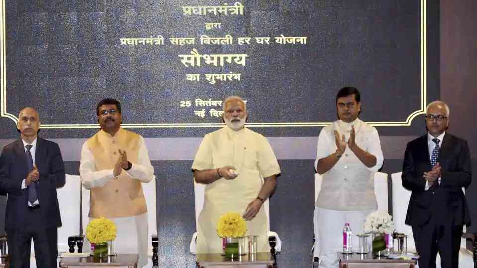 Prime Minister Narendra Modi launches the Sahaj Bijli Har Ghar Yojana or Saubhagya in New Delhi in September 2017 . Photo: PTI