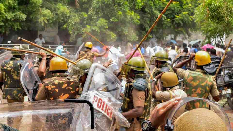 At the anti-Sterlite protests in Thoothukudi earlier this year. (Photo credit: PTI).