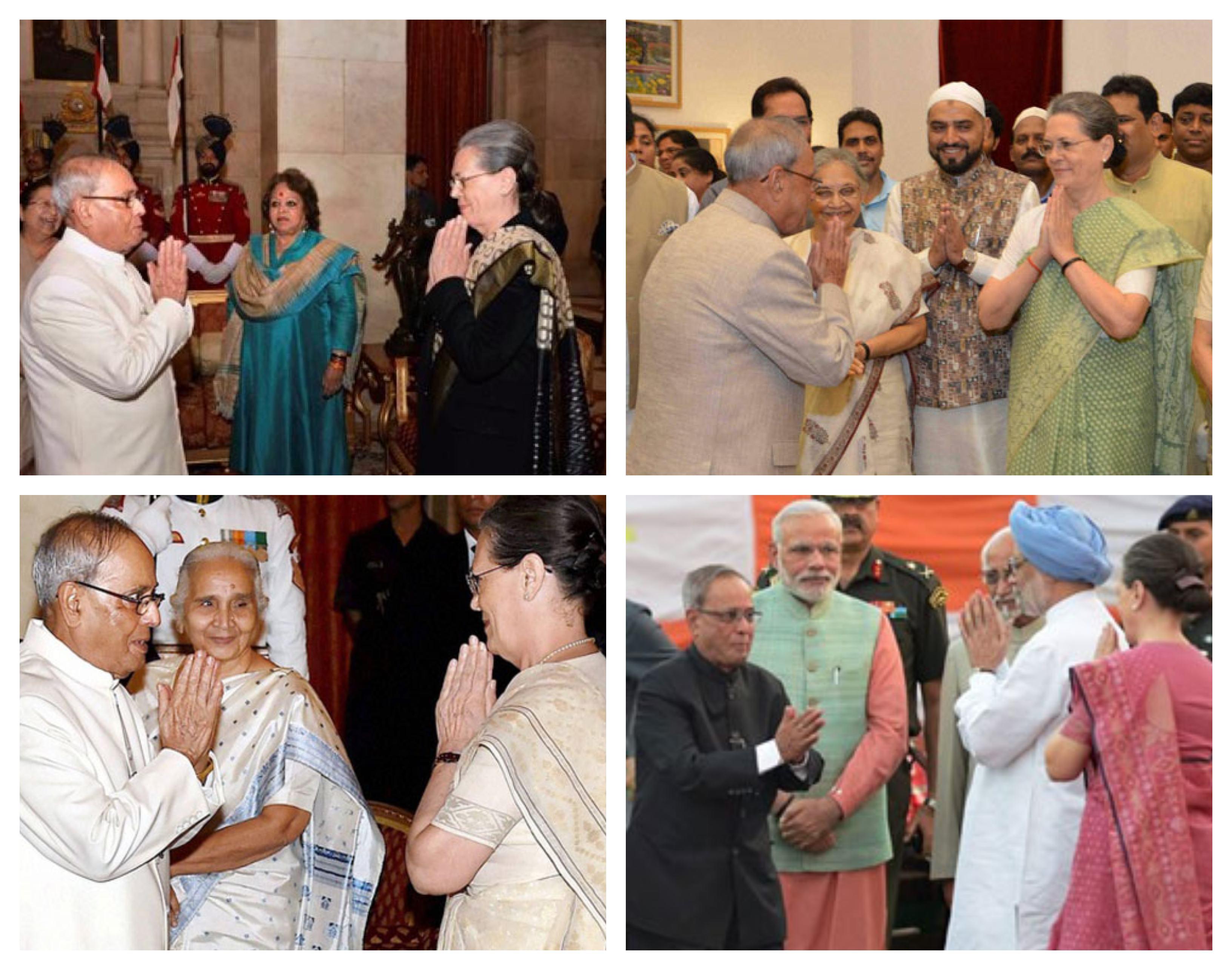 प्रणब मुखर्जी के राष्ट्रपति रहते हुए अलग-अलग मौक़ों पर उनका हाथ जोड़कर अभिवादन करतीं सोनिया गांधी