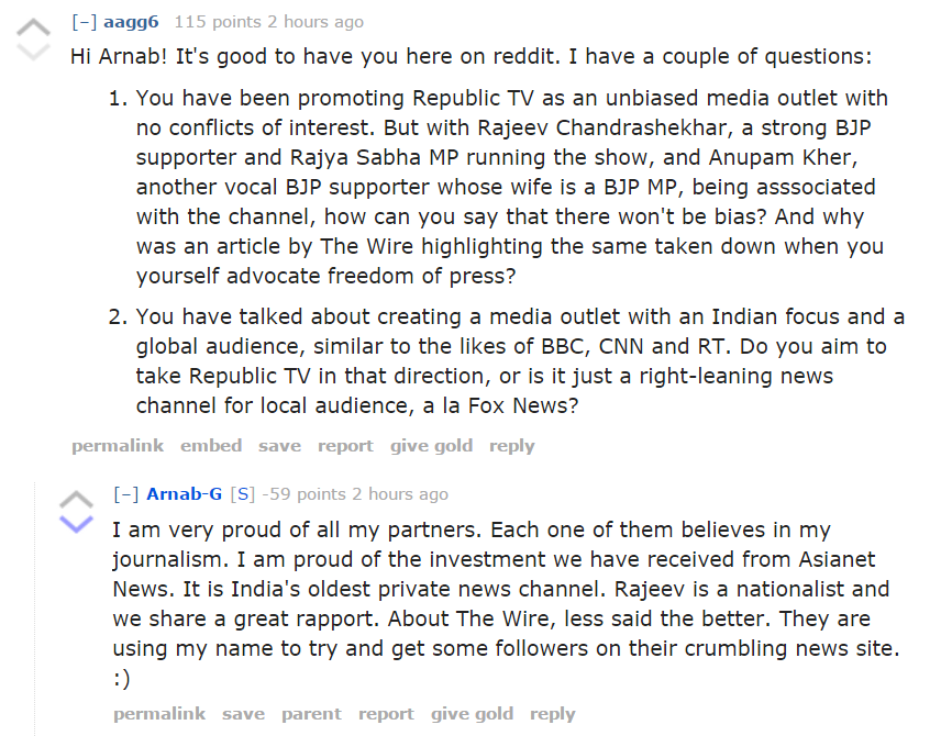Arnab Goswami responds to questions on BJP influence on new channel