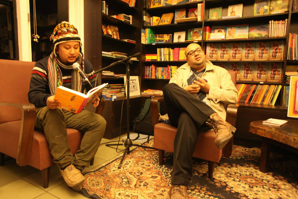 Writers Chetan Raj Shrestha (left) and Prajwal Parajuly