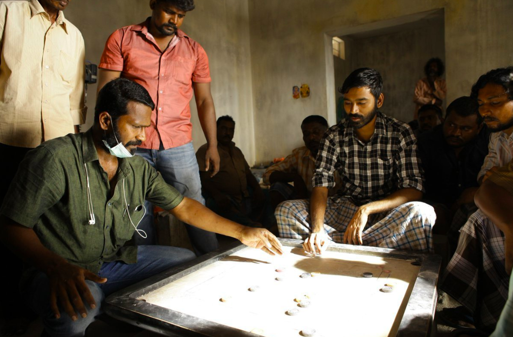 Vetri Maaran and Dhanush on the sets of Vada Chennai. Courtesy Twitter.
