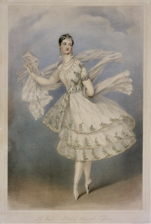 Marie Taglioni as La Bayadere, coloured lithograph, 1831 (V&A)