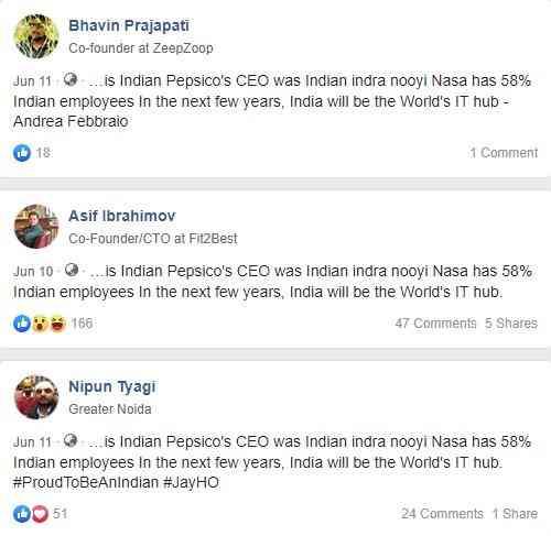 Viral Fake News Screenshot Montage: Fake News: No, 58% Of NASA Employees Are Not Indian