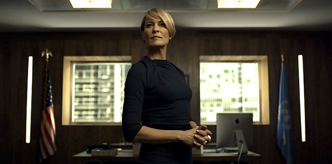 Robin Wright as Claire Underwood.