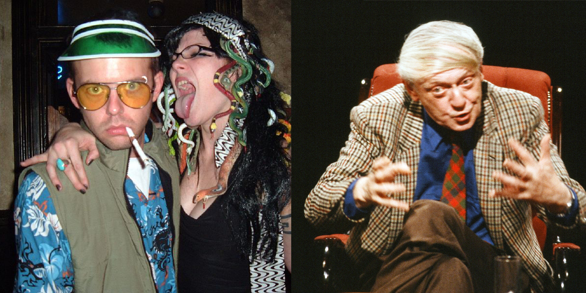 Left: Hunter S Thompson, Wikimedia Commons (Licensed under CC by 2.0), Right: Anthony Burgess, Wikimedia Commons (Licensed under CC by 3.0)