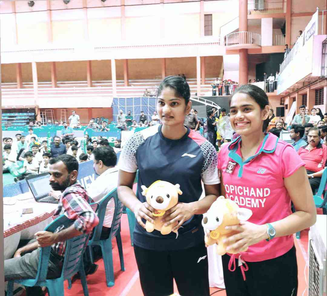 Rutuparna Panda (right) with K Maneesha after winning the women's doubles title.