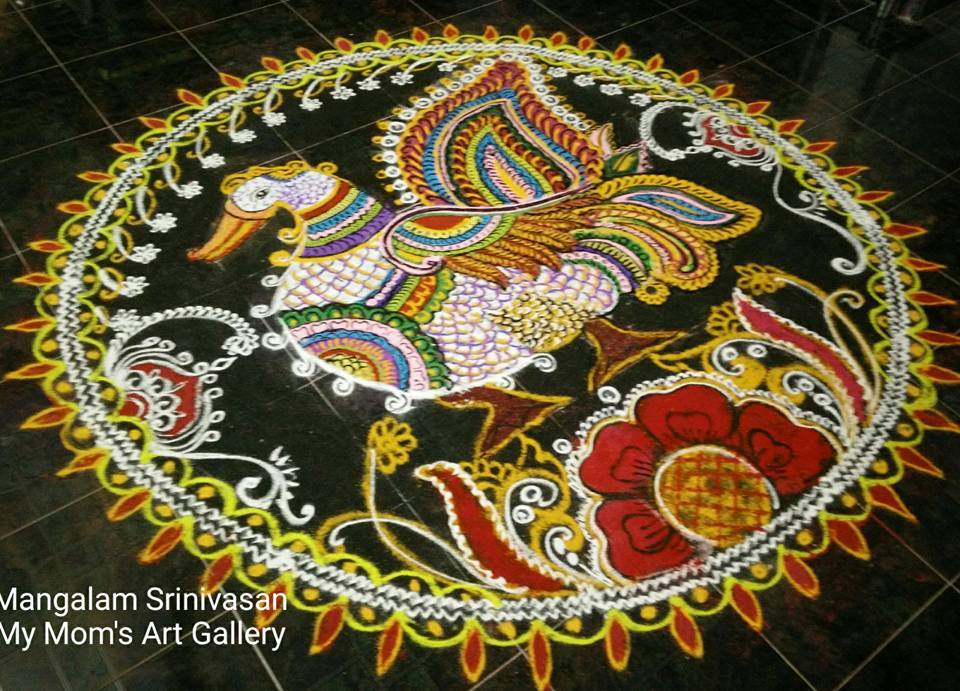 amma and raja ravi varma add a modern twist to this kolam season in
