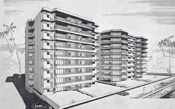 A rendering of Brighton Apartments (1959).