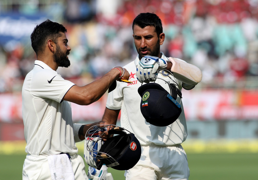 Kohli and Pujara during the series against England. Image credit: IANS